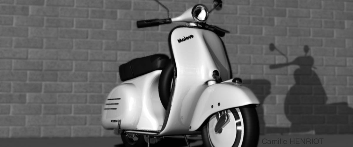 scooter vintage type vespa réalisé en 3D sous 3DSmax